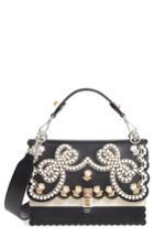 Fendi Kan I Imitation Pearl Stud Calfskin Shoulder Bag - Black