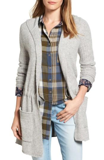 Petite Women's Caslon Hooded Cardigan P - Grey