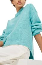 Women's Topshop Textured Balloon Sleeve Sweater Us (fits Like 0-2) - Blue/green