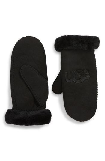 Women's Ugg Logo Genuine Shearling Mittens - Black