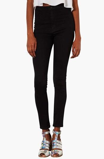 Topshop Moto 'joni' High Rise Skinny Jeans (short) Womens Black