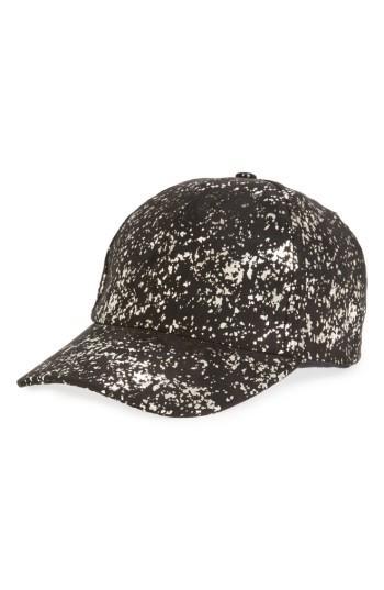 Women's Amici Accessories Metallic Foil Ball Cap - Black