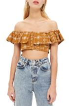Women's Topshop Crinkle Off-the-shoulder Crop Top Us (fits Like 10-12) - Yellow