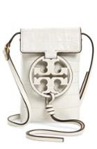 Tory Burch Miller Embossed Crossbody Leather Phone Bag - White