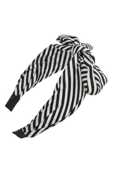 Tasha Knotted Stripe Bow Headband, Size - Black