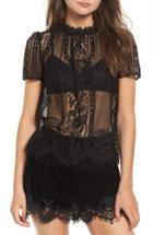 Women's Rebecca Minkoff Yasmin Sheer Lace Top, Size - Black