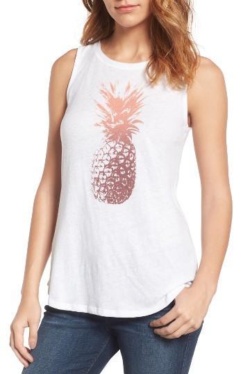 Women's Lucky Brand Pineapple Graphic Tank - White