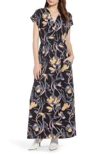 Petite Women's Halogen V-neck Maxi Dress, Size P - Black