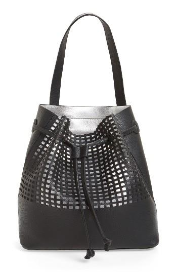 Street Level Perforated Faux Leather Drawstring Tote -