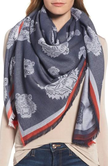Women's Kenzo Tiger Square Scarf, Size - Blue