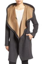 Women's Vince Camuto Double Face Hooded Drape Coat - Grey