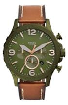 Men's Fossil Nate Chronograph Leather Strap Watch, 50mm