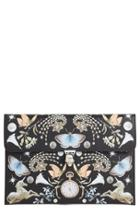 Alexander Mcqueen 'nocturnal Skull' Calfskin Leather Clutch -