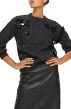 Women's Topshop Cluster Embellished Sweater Us (fits Like 0) - Grey