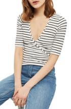 Women's Topshop Stripe Wrap Top Us (fits Like 0) - White