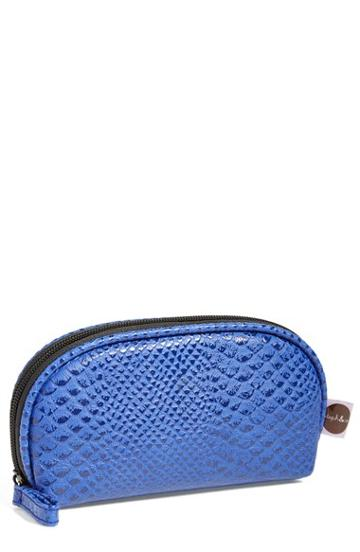 Steph & Co. 'blue Python - Mini' Dome Cosmetics Case