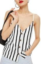 Women's Topshop Stripe Camisole Us (fits Like 0) - White
