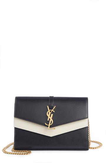 Women's Saint Laurent Sulpice Colorblock Leather Crossbody Wallet - Black