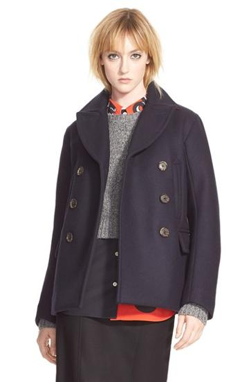 Women's Marc By Marc Jacobs 'norman' Bonded Wool Peacoat,