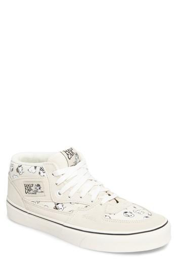 Men's Vans X Peanuts Half Cab Sneaker .5 M - White