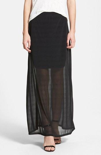 Halogen Sheer Overlay Maxi Skirt