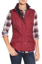 Women's Barbour 'cavalry' Quilted Vest Us / 8 Uk - Red