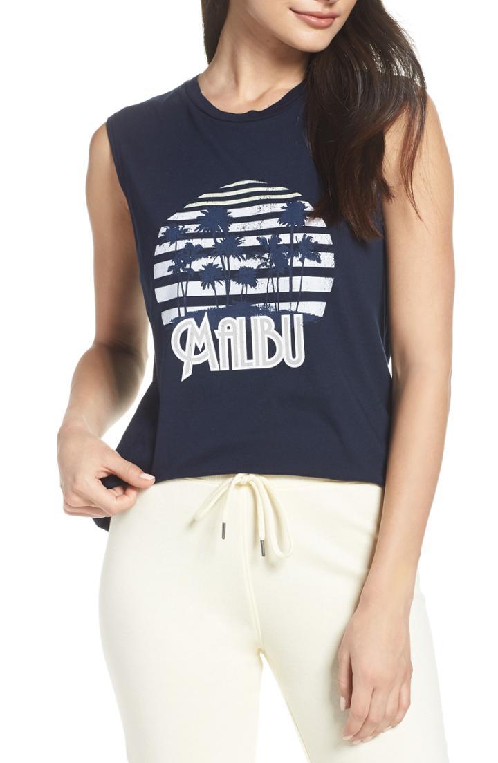 Women's David Lerner Malibu Palms Muscle Tank - Blue