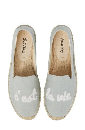 Women's Soludos C'est La Vie Smoking Slipper Espadrille M - Blue
