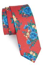 Men's The Tie Bar Hinterland Floral Silk Tie, Size - Red