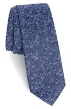 Men's Calibrate Lindsay Floral Print Silk & Cotton Tie, Size - Blue