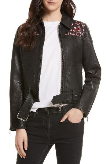 Women's Rebecca Minkoff Washoe Embroidered Leather Jacket