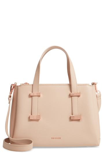 Ted Baker London Julieet Large Adjustable Handle Leather Satchel - Beige