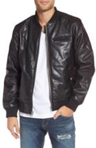 Men's Members Only Quilted Faux Leather Bomber Jacket, Size - Black