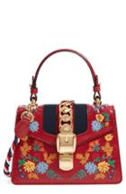 Gucci Mini Sylvie Flower Embroidery Leather Shoulder Bag -