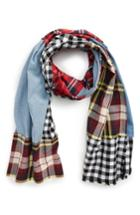 Women's Leith Patchwork Oblong Scarf, Size - Blue