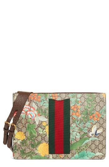Men's Gucci Tian Leather Trim Messenger Bag -