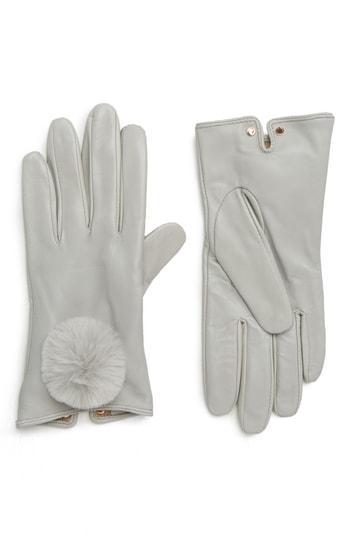 Women's Ted Baker London Pom Leather Touchscreen Gloves