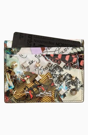 Women's Christian Louboutin Kios Leather Card Case - Grey