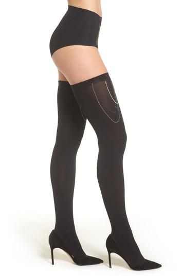 Women's Wolford Embellished Stay-put Stockings - Black