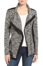 Women's Two By Vince Camuto Asymmetrical Mixed Media Jacket - Black