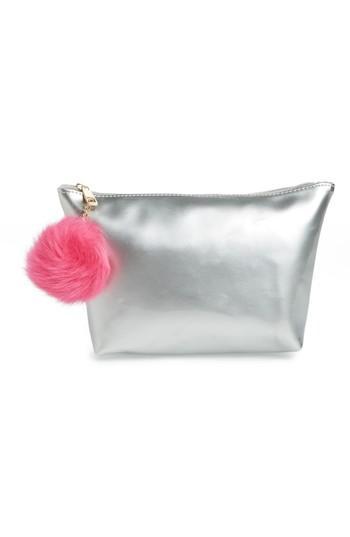 Yoki Bags Metallic Cosmetics Bag With Pom Charm, Size - Silver