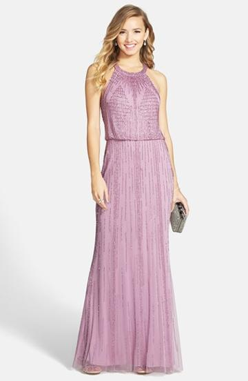 Women's Adrianna Papell Beaded Blouson Gown - Purple