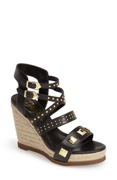 Women's Fergie 'averie' Espadrille Wedge Sandal, Size 10 M - Black,