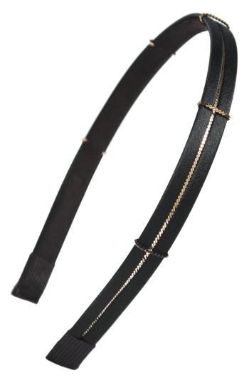 Cara Skinny Metal Chain Headband, Size - Black
