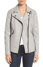 Women's Guess Faux Leather Moto Jacket - Grey
