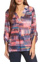 Women's Chaus Colorful Canvas Roll Sleeve Blouse