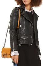 Women's Topshop Lucky Leather Biker Jacket Us (fits Like 2-4) - Black