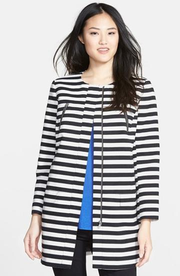 Women's Halogen Stripe Collarless Topper, Size