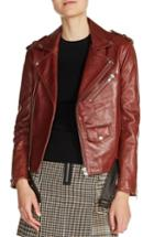 Women's Maje Belted Leather Jacket - Burgundy