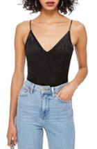 Women's Topshop Glitter Stripe Bodysuit Us (fits Like 0) - Black